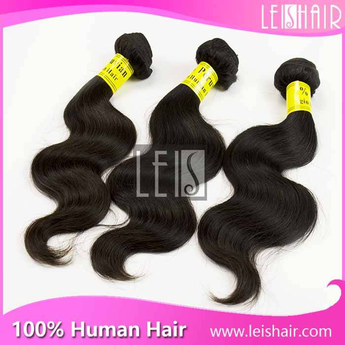Grade 5A Body Wave natural color Remy Peruvian Hair Weaving