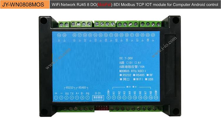 WiFi Network RJ45 8 DO(MosFet) 8DI Modbus TCP IOT module for Computer Android control