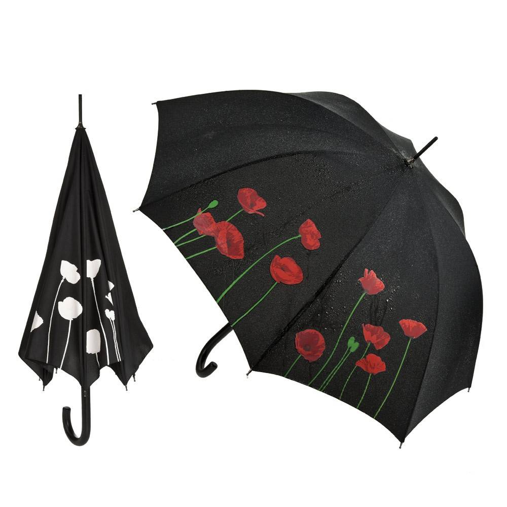 Fancy Color Change On Contact With Water Rose Logo Black Straight Umbrella