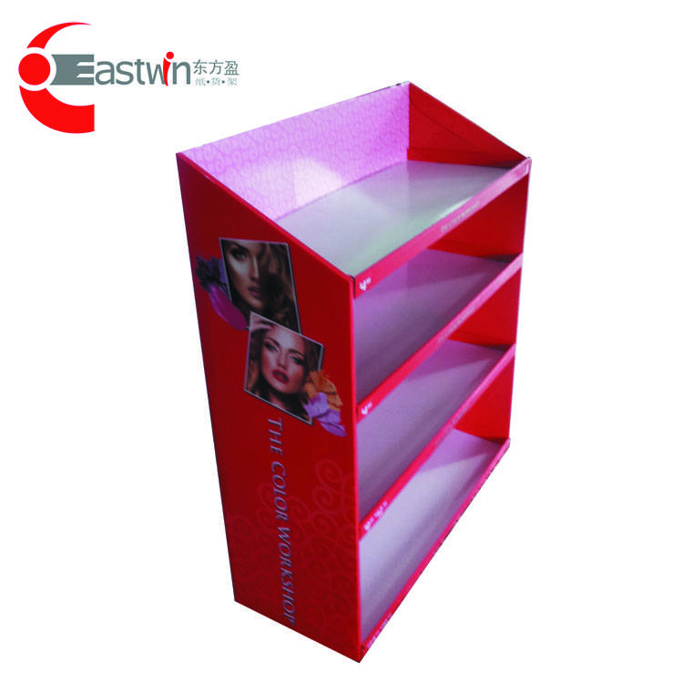 Customized corrugated paper/carboard big goods shelf/display stand showcase with 3 layers