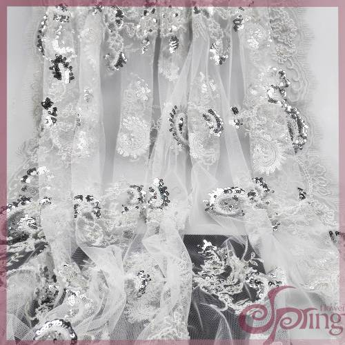 White sequins embroidered lace fabric, mesh bridal lace fabric