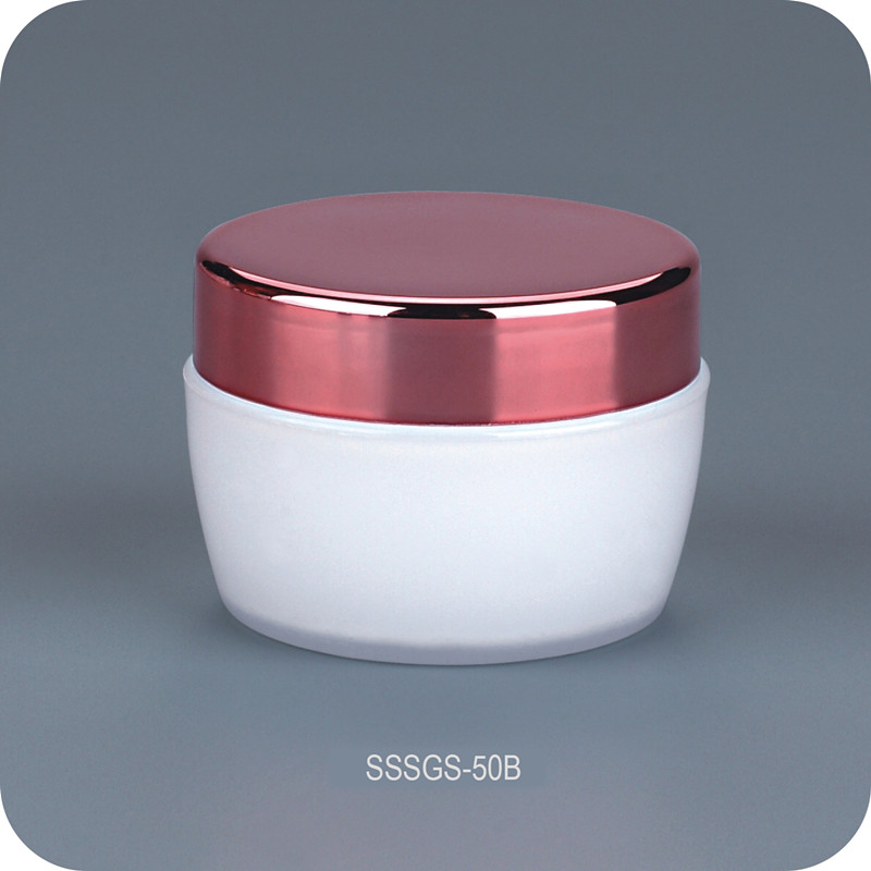 50g Electroplating Shining Rose Color Face Cosmetic Cream Jar Packaging