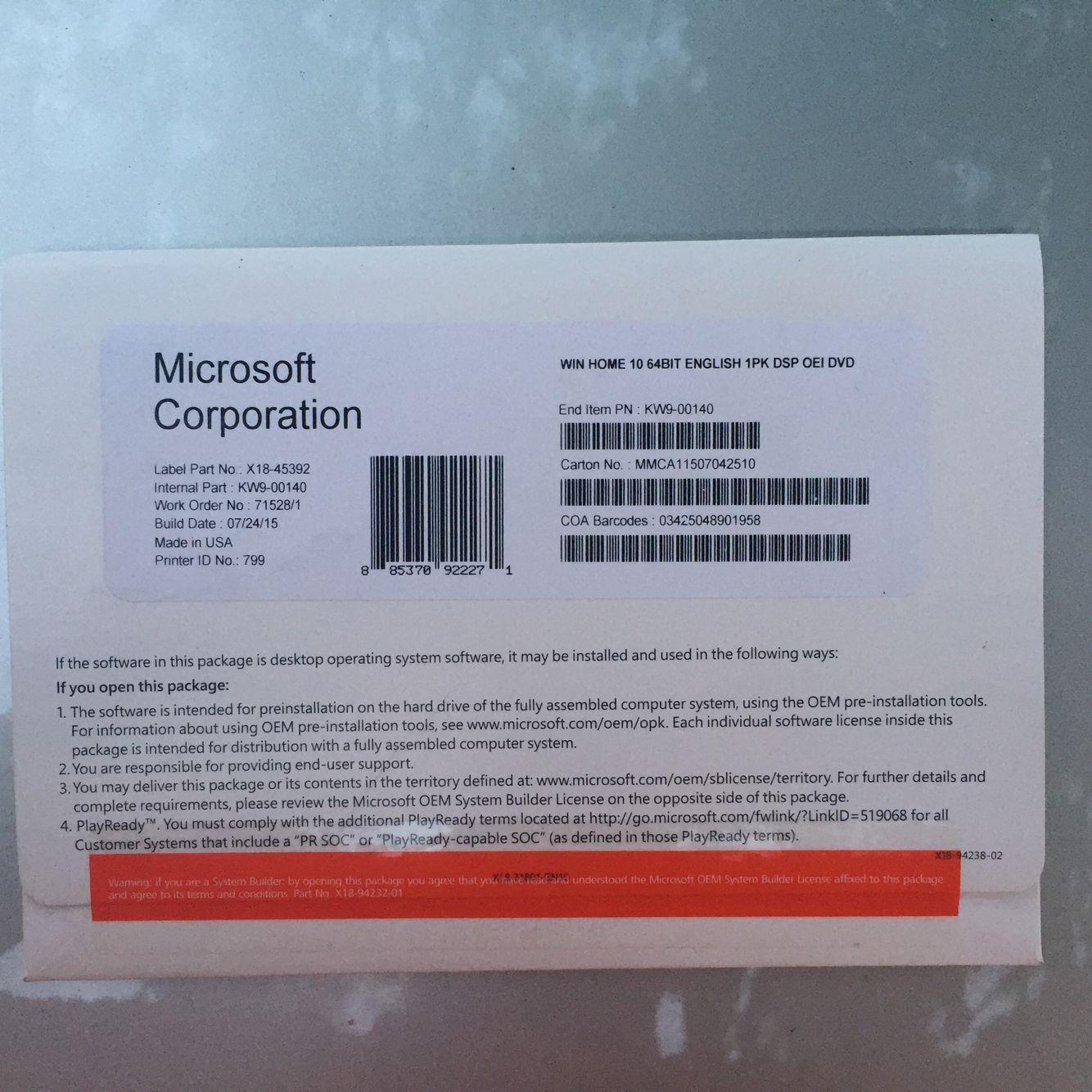 Windows 10 home key oem pack with new oem key sticker