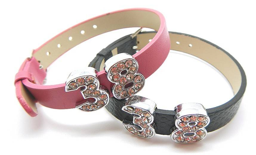 top quality pu leather wristbands with metal charms