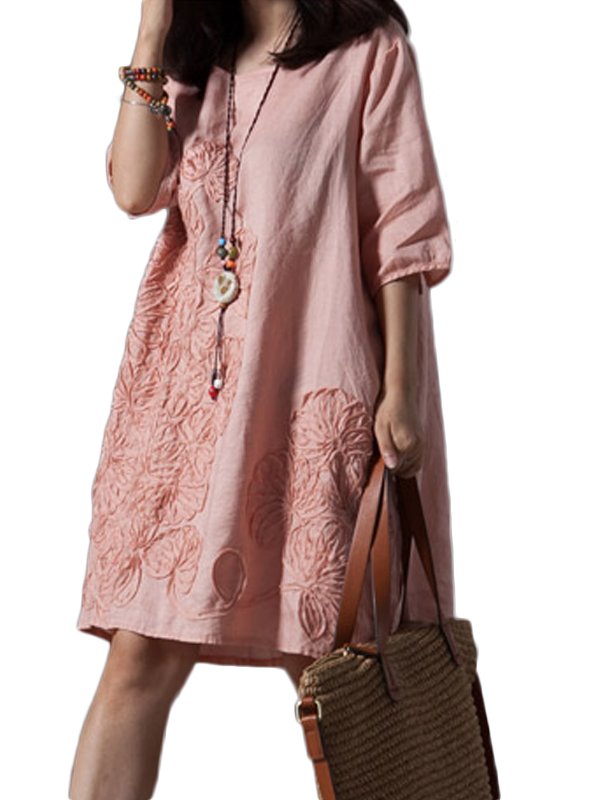 New Fashion Summer Women Casual Solid O-Neck Half Sleeve Knee-Length Dress WT73000