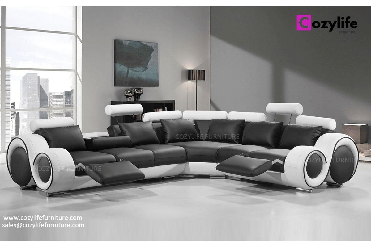 Modern large L shaped corner reclining sofa
