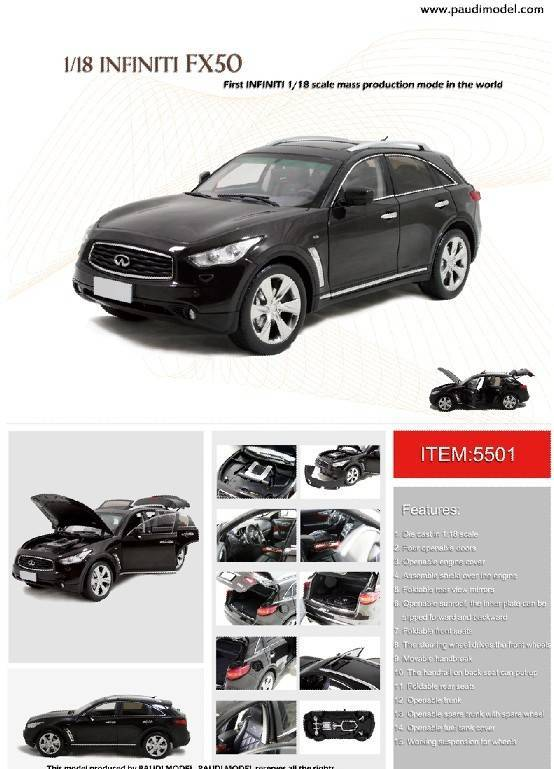 Infiniti FX50S 2009 5501BR Classic toys, Scale Models, Simulation Model, Model Trucks, Collectable D