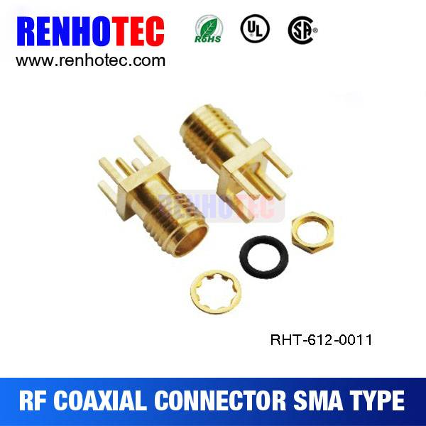 RA SMA Female Connector Solder Attachment End Launch PCB Contact