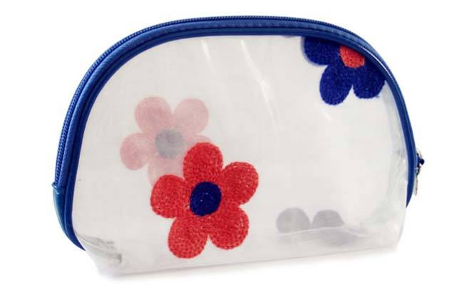 PVC cosmetic bag with organza flower