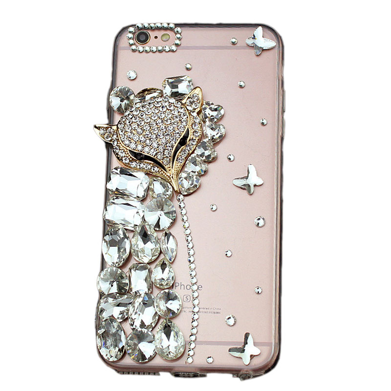 Special Fox Head Mobile Phone Cover Crystal for iPhone X/8/7/6s Plus Samsung Galaxy S6/S7/S8+