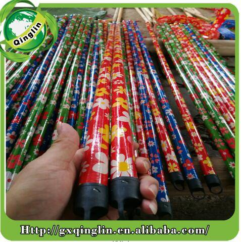 all colors 120X2.2cm PVC coated wooden broom mop handle stick with various design and all colors cap