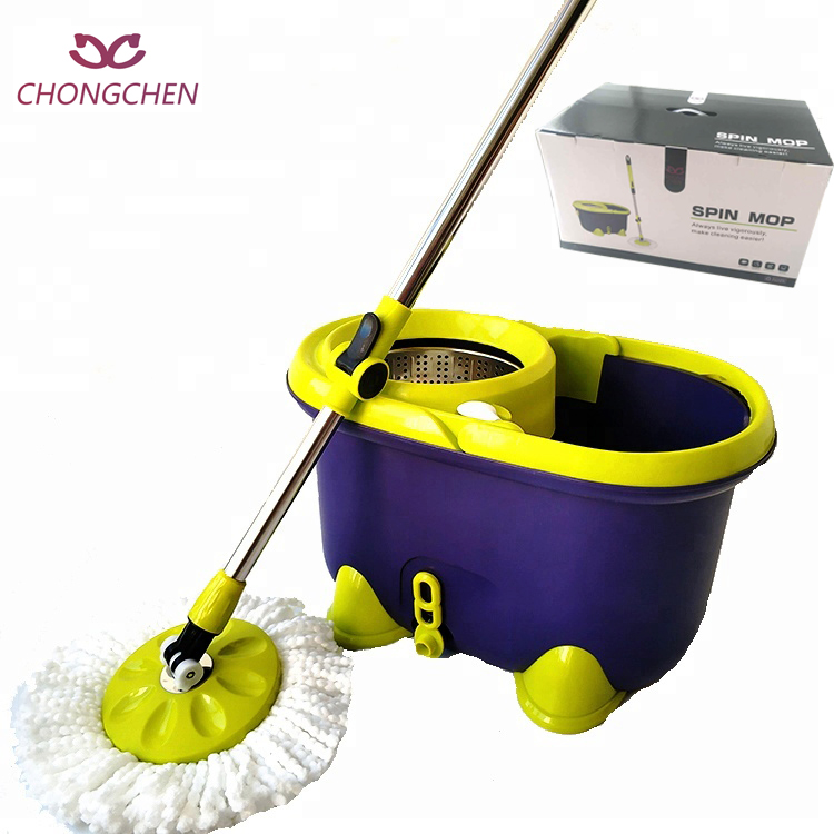 Two chamber 360 spin mop with round head