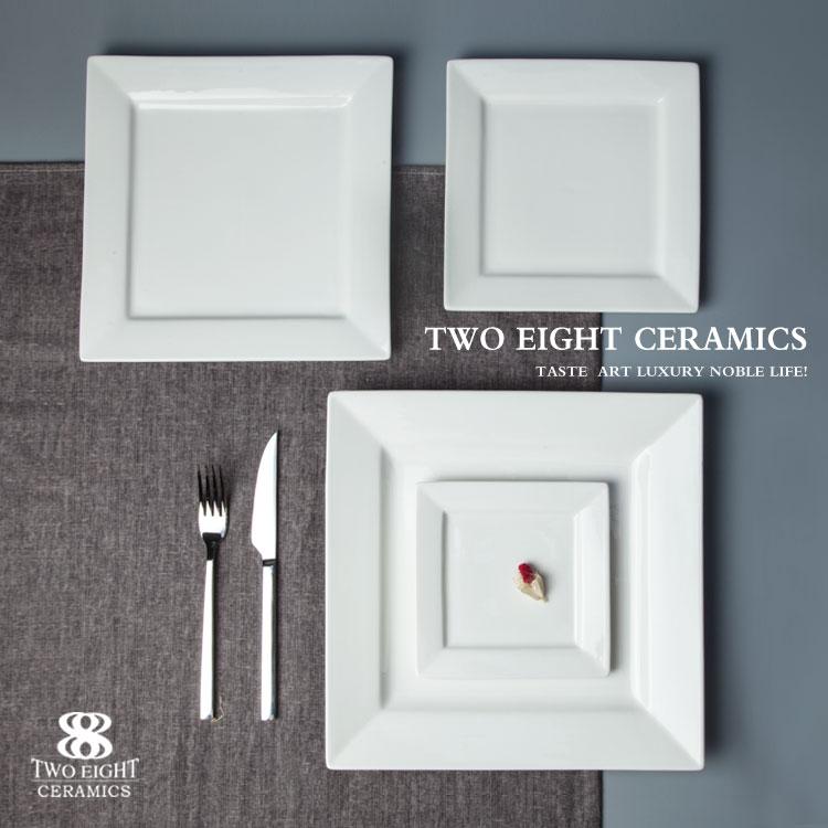 Wholesale ceramic square plate, bulk dinner plates for restaurant