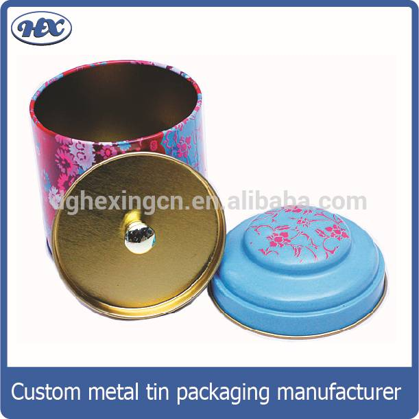 Round CMYK printing tea metal box with inner lid