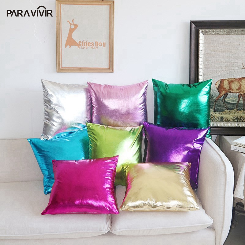Fashion Cushion Covers Solid PU Leather Hot-stamping Cloth Decorative Pillows Case 4545cm Cushions