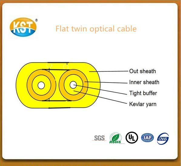 Optical fiber cable/duplex cores Flat Twin Duplex Military Tactical Indoor optical Cable (GJFJV)