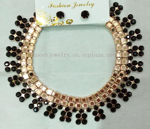 Wholesale Jewelry Sculpture Necklace Earrings Party Wedding black Rhinestone 18k Gold plated Jewelry