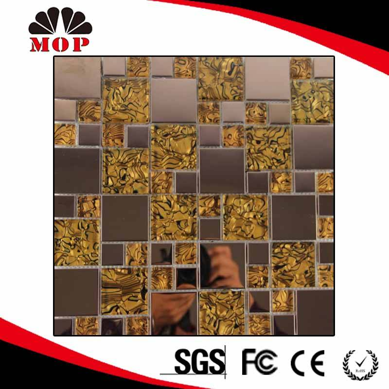 Square Self Adhesive Mosaic Stainless Steel mixed Glass