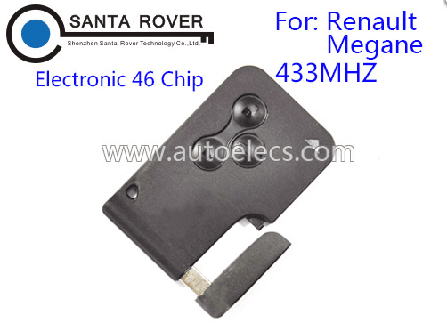 For Renault Megane Smart Remote Key Card 3 button 46 Chip 433Mhz