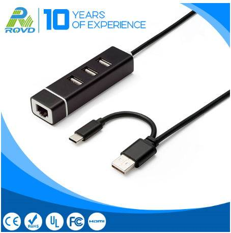 Hot sales Aluminum 3 port USB Hub 1 Port Lan Adapter
