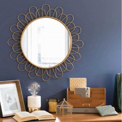 Wall Hanging Large Golden Circle Sunburst Convex Metal Frame Flower Wall Decor Brass Mirror Modern C