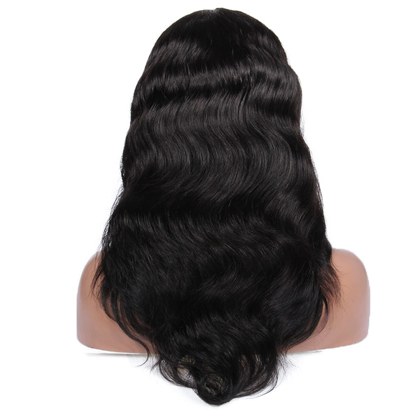 "18"" 1B# body wave high quality low price 100% human hair full lace wig lace front wig"
