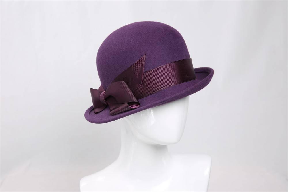 Wool Felt Bowler Hat for Women (FW004090)