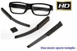 Full HD/HD Glasses Camera with Exchangeable Battery Temple