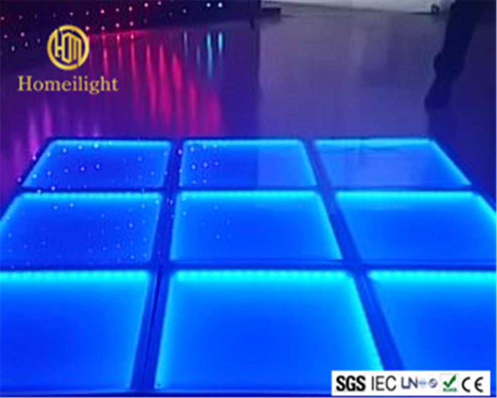 10mm thick toughened glass LED dyeing dance floor