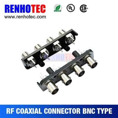 Straight four BNC female connectors in one row with black