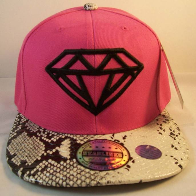 Six panel snakeskin diamond embroidery snapback hats
