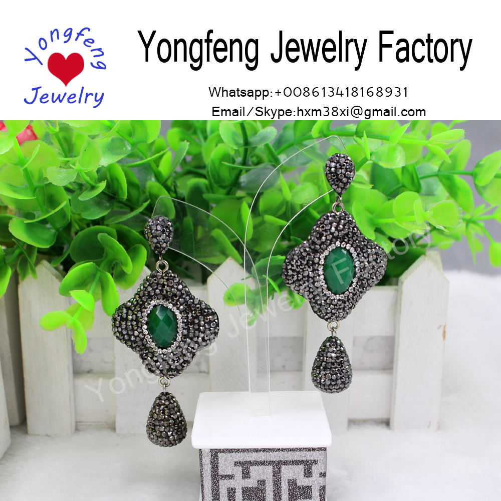 malaysian jade dangle earrings,paved rhinestone earrings