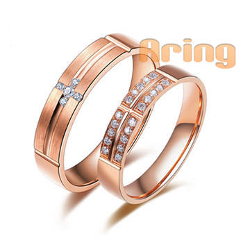 Wholesale Jewellery Solid 18k Rose Pink Gold Natural Diamond Wedding Rings