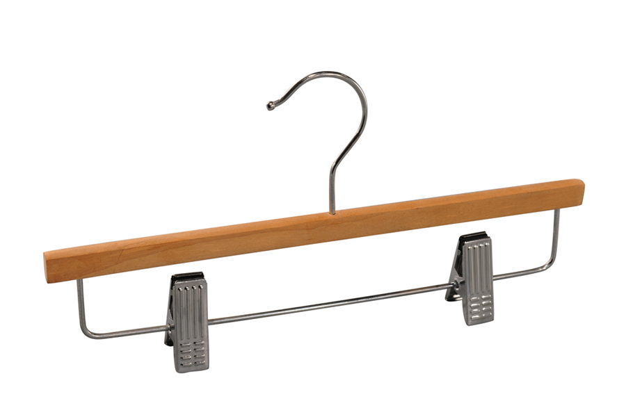 Wooden pant hanger with clips dress hangers