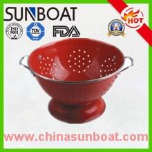 red color cast iron enamel colander