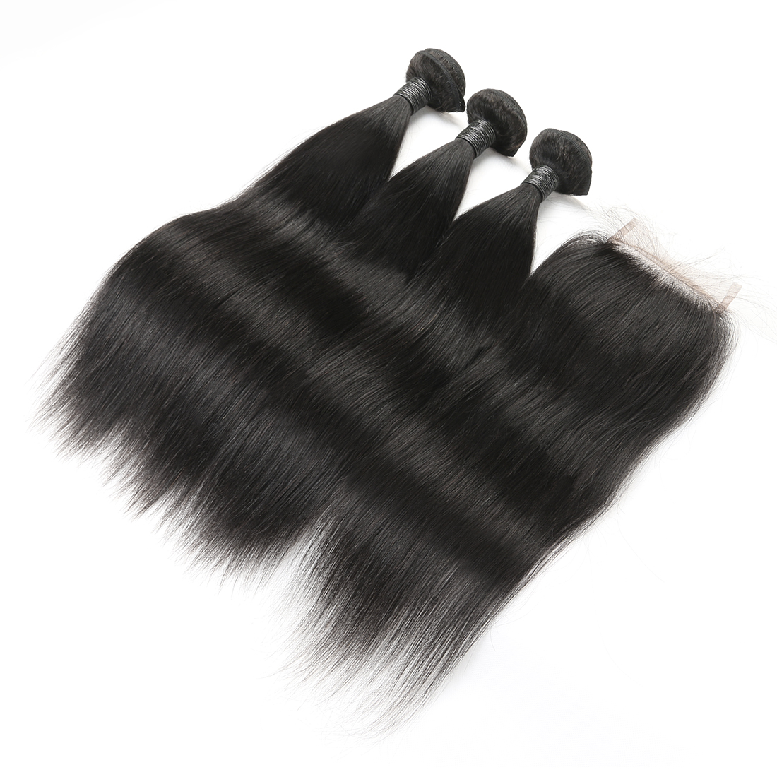 9A Brazilian Straight Human Virgin Hair Weave 3 Bundles With Lace Closure