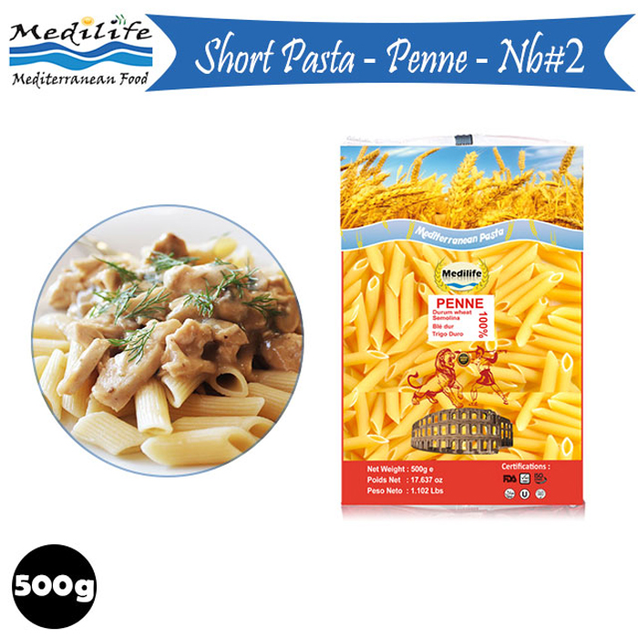 Pasta Penne 500g bag. 100% wheat