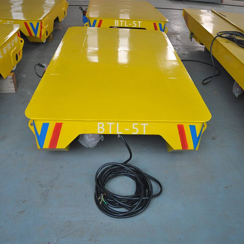 Material Handling Electric Flat Car Powered by Trailing Cable