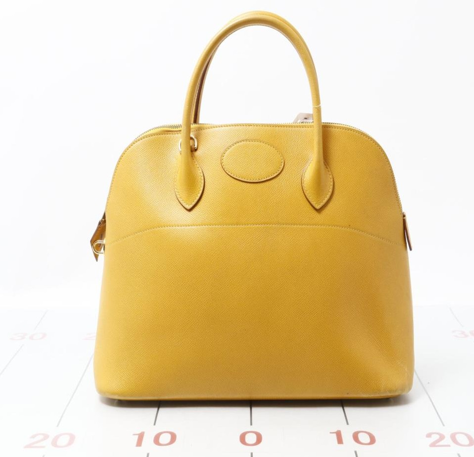 49ba6ed349fb Used brand designer HERMES Borido 37 Yellow Leather Handbags for bulk sale.