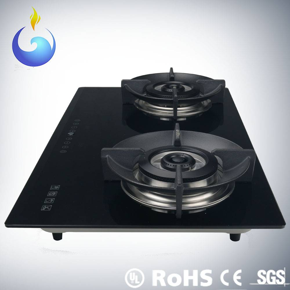 Top glass gas hob with ceramic fiber