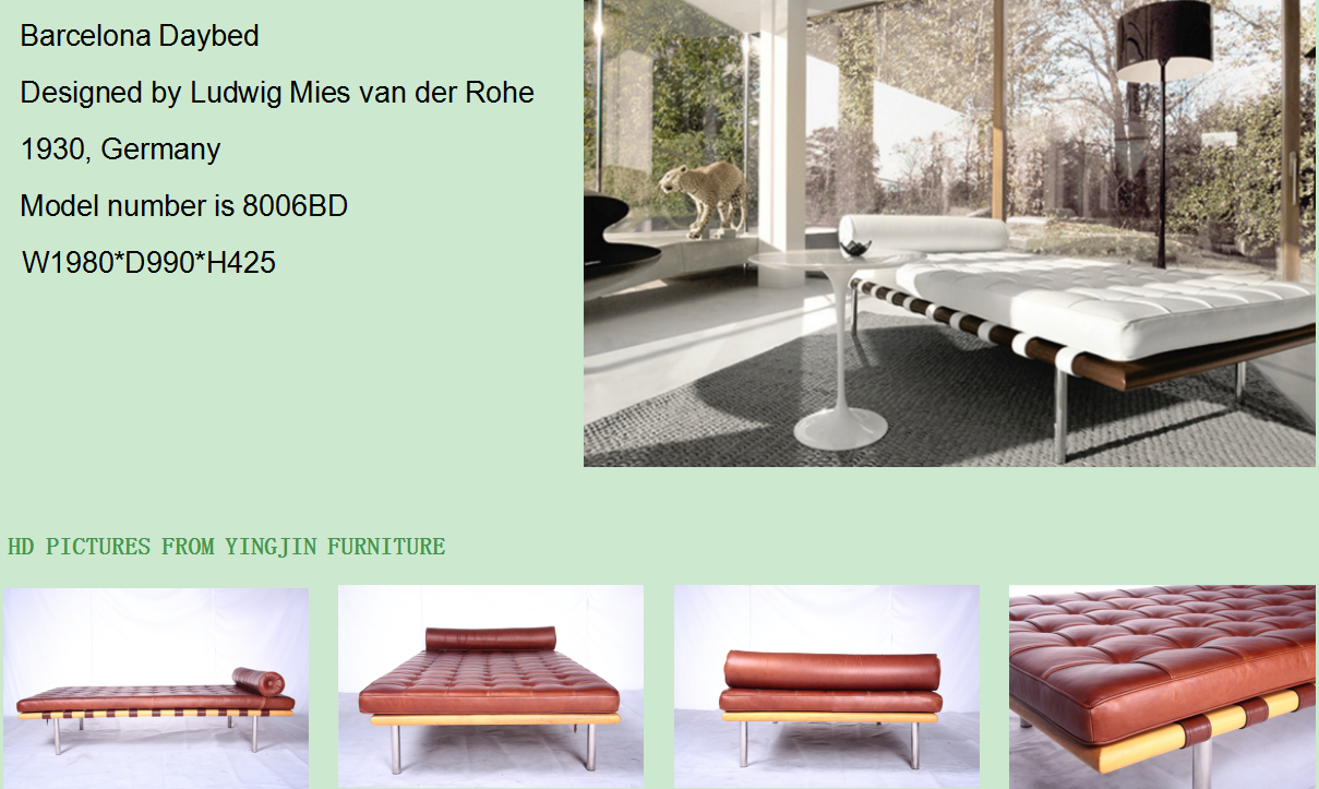 Barcelona daybed with Italy aniline leather