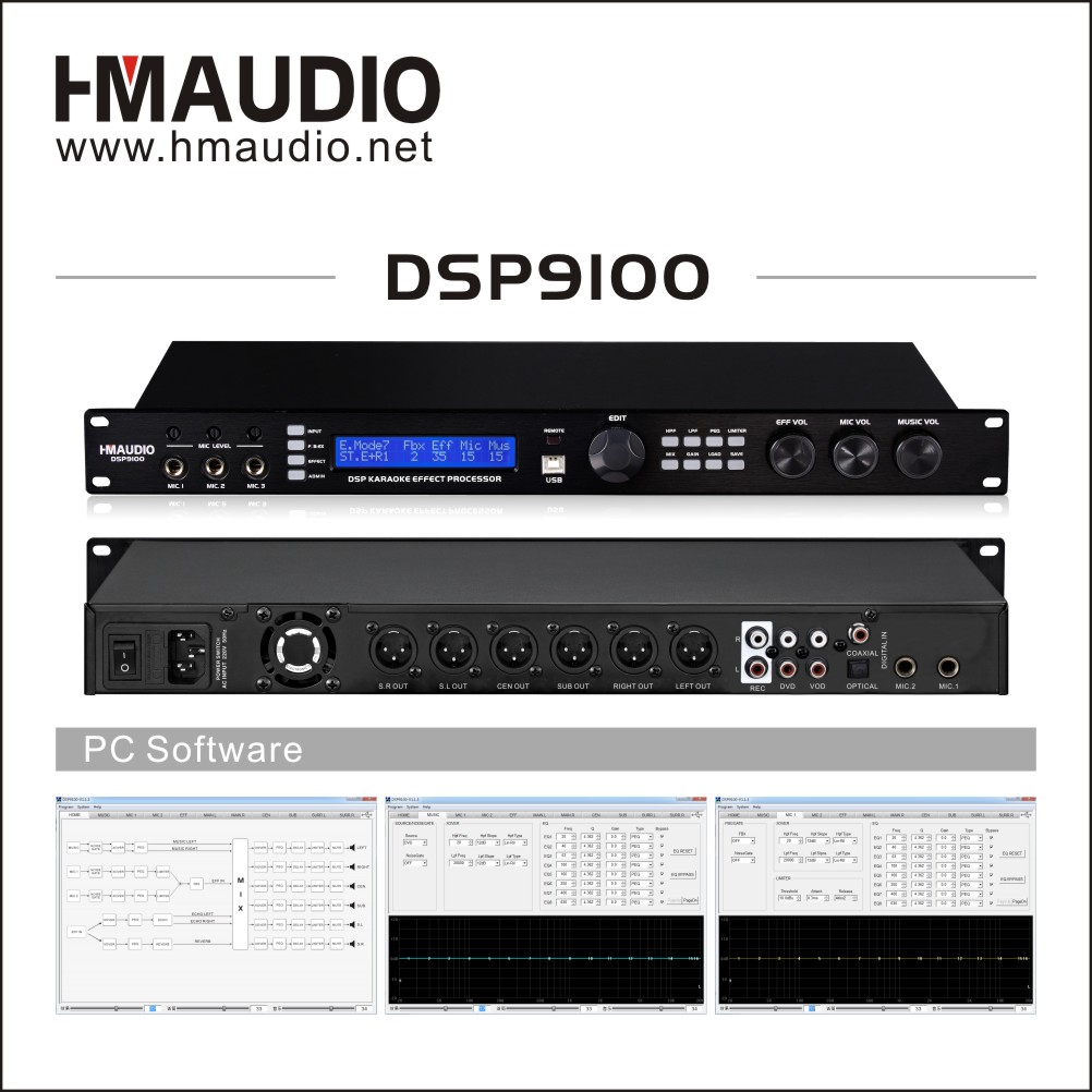 Digital Karaoke processor DSP9100 support independent PEQ for A/B way MIC