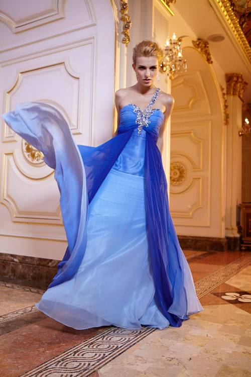 Sell attractive one-shoulder neck line open back beaded ombre chiffon dress
