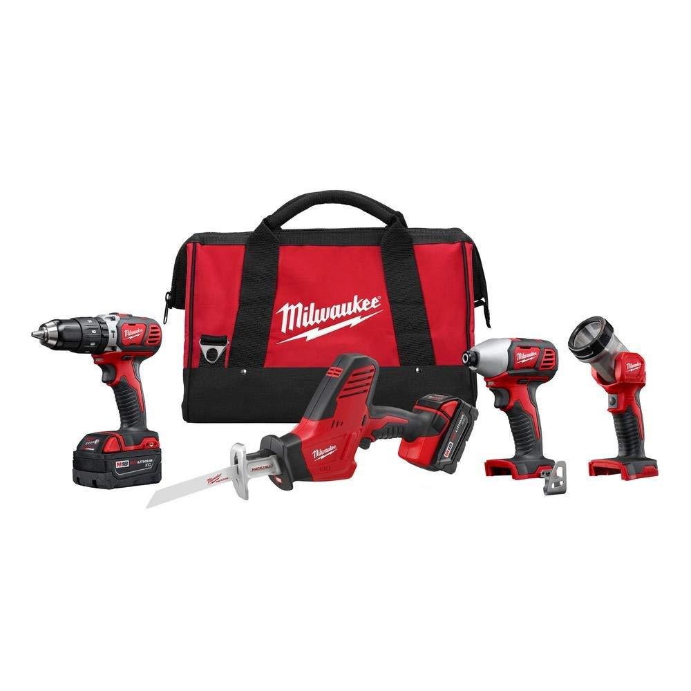Milwaukee 2695-24 M18 18V Cordless Power Tool Combo Kit with Hammer Drill, Impact Driver, Reciproca
