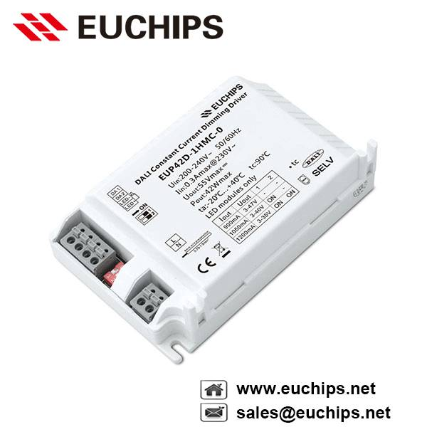 900/1050/1200mA 42W 1 channel DALI constant current dimmabel led driver EUP42D-1HMC-0