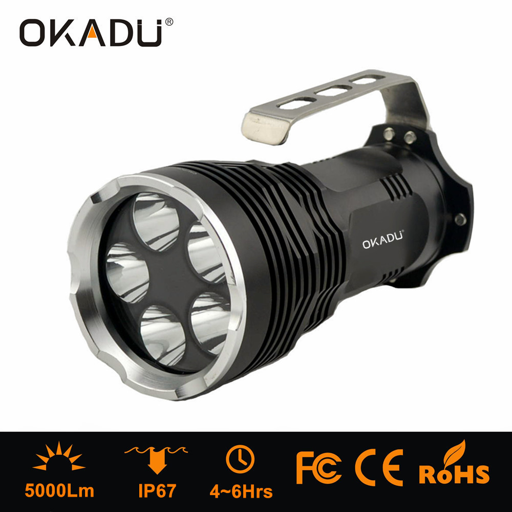 OKADU ST05H 5 Cree XML T6 LED Powerful 5000Lm Portable Hand Lamp Battery Powered LED Flashlight