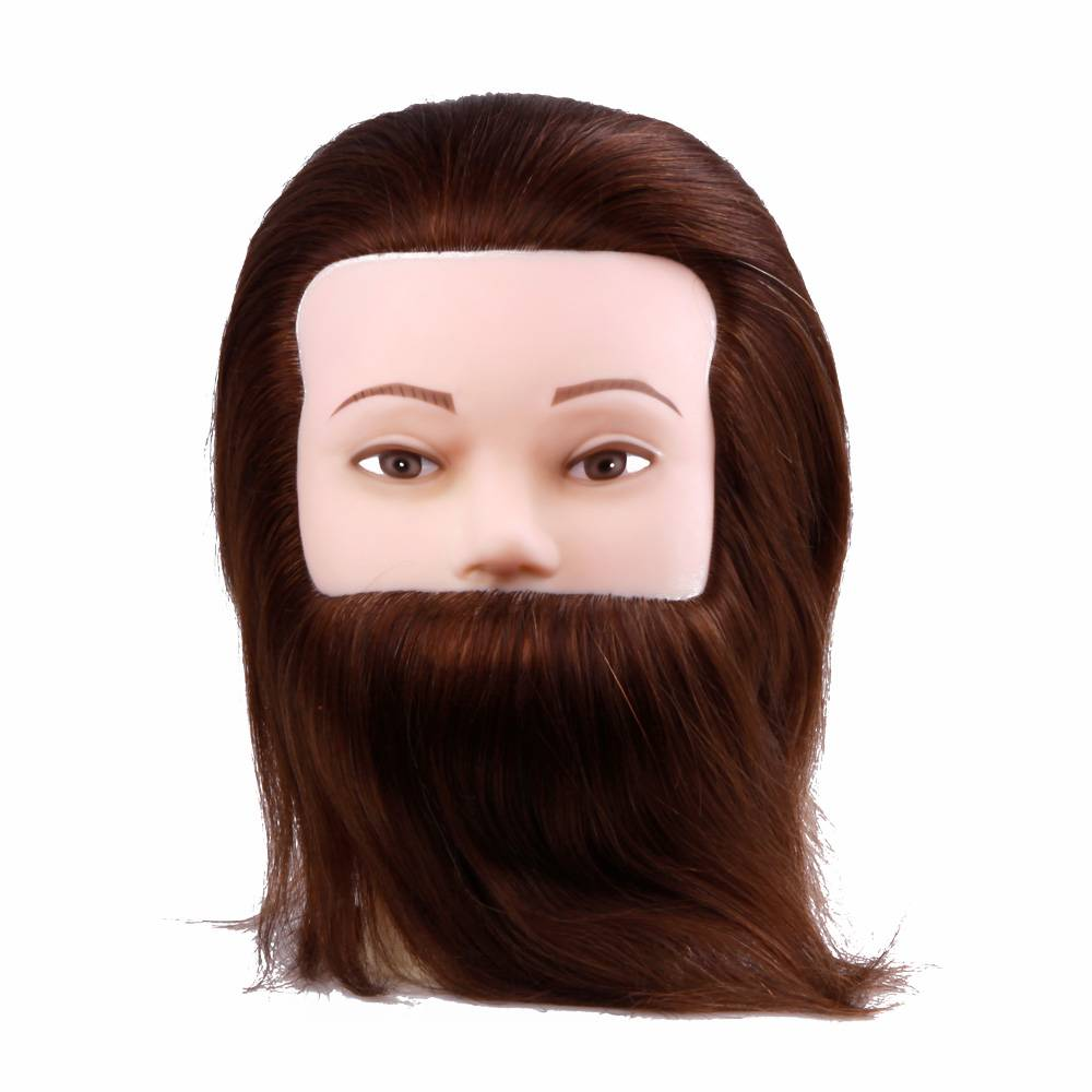 man head with bread male training mannequin doll head with human hair