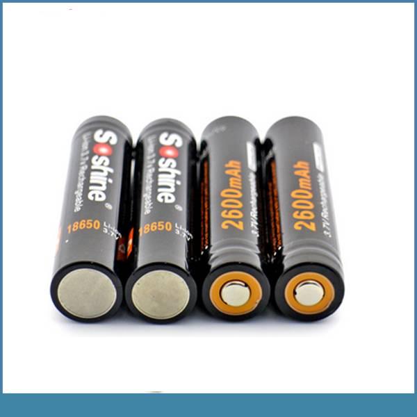 soshine recycle protected 2600mah 3.7v li ion battery