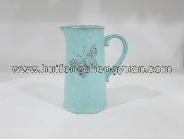 done old effect handmade ceramic pitcher