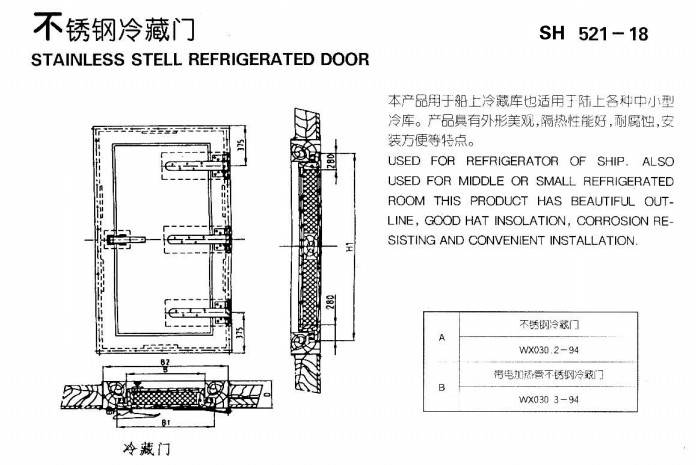 Stainless stell refrigerated door